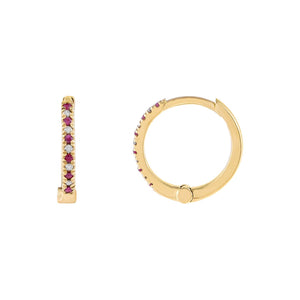 14K Gold Diamond X Ruby Huggie Earring 14K - Adina's Jewels