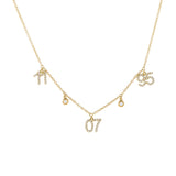 14K Gold Diamond Dangling Date Necklace 14K - Adina's Jewels