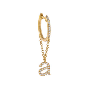 14K Gold / A / Single Diamond Initial Chain Huggie Earring 14K - Adina's Jewels