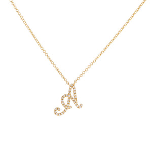 14K Gold Diamond Script Initial Necklace 14K - Adina's Jewels