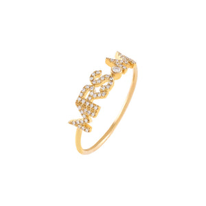 14K Gold / 5 Diamond Mrs. Initial Ring 14K - Adina's Jewels