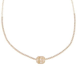 14K Gold Diamond Illusion Baguette Tennis Necklace 14K - Adina's Jewels