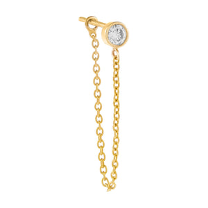 14K Gold / Single Diamond Bezel Chain Stud Earring 14K - Adina's Jewels