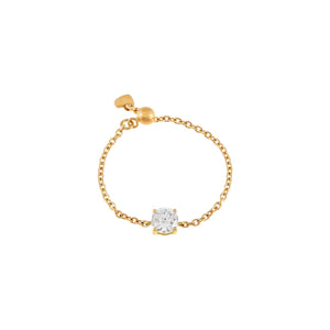 14K Gold Diamond Solitaire Chain Ring 14K - Adina's Jewels