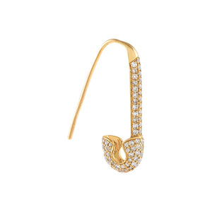 14K Gold / Single Diamond Safety Pin Drop Earring 14K - Adina's Jewels