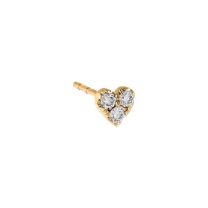 14K Gold / Single Diamond Small Heart Cluster Stud Earring 14K - Adina's Jewels