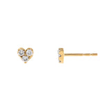 14K Gold / Pair Diamond Small Heart Cluster Stud Earring 14K - Adina's Jewels