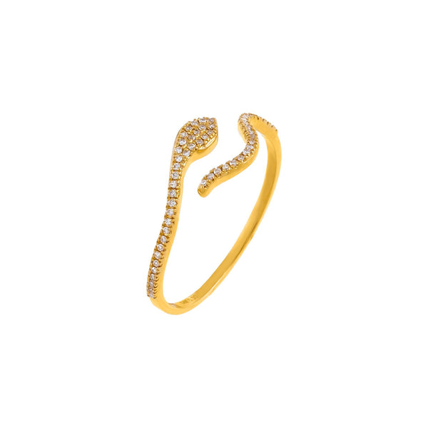 14K Gold / 6 Diamond Serpent Wrap Ring 14K - Adina's Jewels