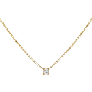 14K Gold Diamond Tiny Princess Cut Necklace 14K - Adina's Jewels