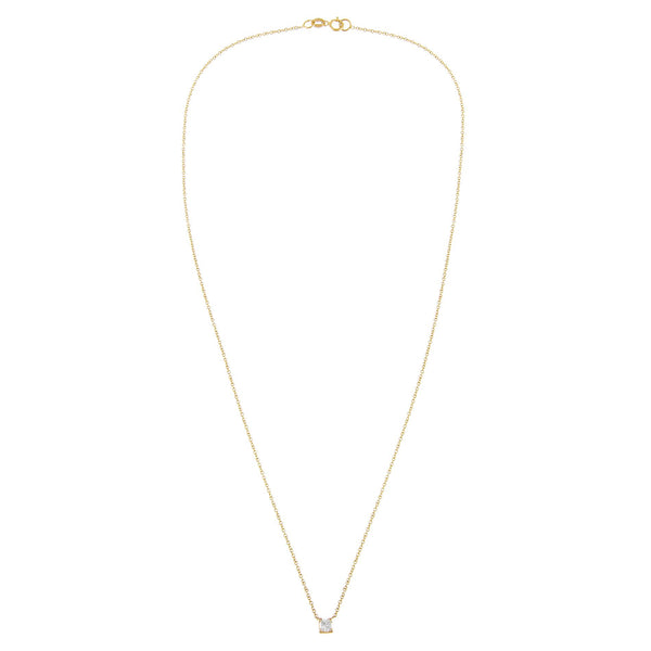 Diamond Tiny Princess Cut Necklace 14K - Adina's Jewels