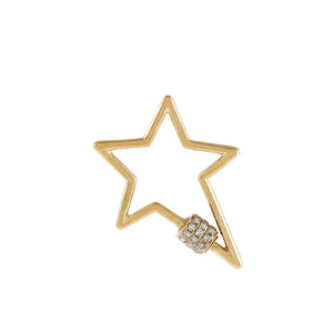 14K Gold Diamond Open Star Toggle Charm 14K - Adina's Jewels