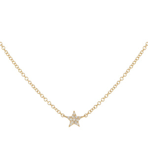 14K Gold Diamond Mini Star Necklace 14K - Adina's Jewels