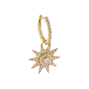 14K Gold / Single Diamond Starburst Charm Huggie Earring 14K - Adina's Jewels