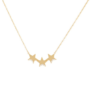 14K Gold CZ Triple Star Necklace 14K - Adina's Jewels