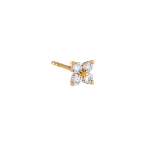 14K Gold / Single Diamond Flower Cluster Stud Earring 14K - Adina's Jewels