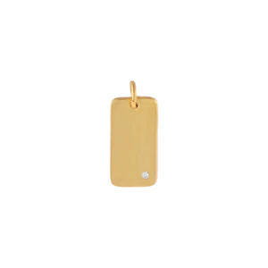 Gold Engraved CZ Mini Dog Tag Charm - Adina's Jewels