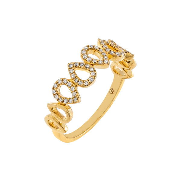 14K Gold / 7 Diamond X Solid Teardrop Ring 14K - Adina's Jewels