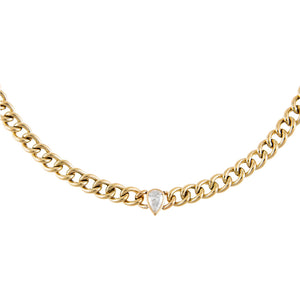 14K Gold Diamond Teardrop X Miami Cuban Link Choker 14K - Adina's Jewels
