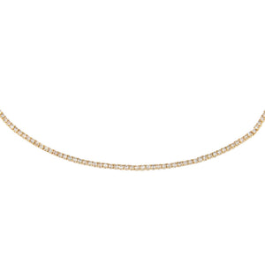 14K Gold Diamond Thin Tennis Choker 14K - Adina's Jewels