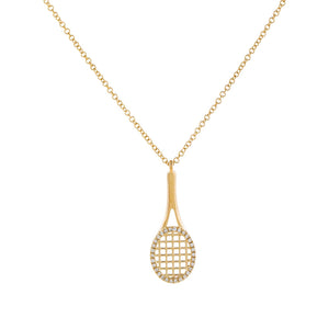 14K Gold Diamond Tennis Racket Necklace 14K - Adina's Jewels