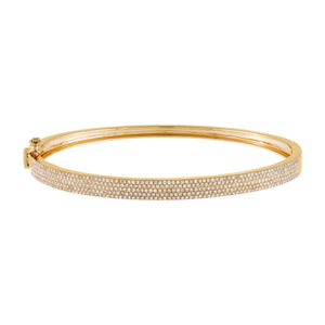 14K Gold Diamond Five Row Bangle 14K - Adina's Jewels