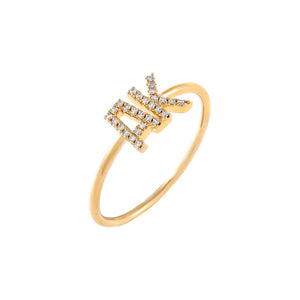 14K Gold / 6 Diamond Double Initial Ring 14K - Adina's Jewels