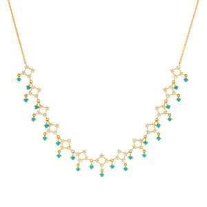Turquoise Diamond Turquoise Cluster Dangling Necklace 14K - Adina's Jewels