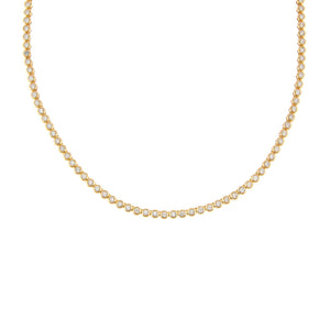 14K Gold Diamond Bezel Tennis Necklace 14K - Adina's Jewels