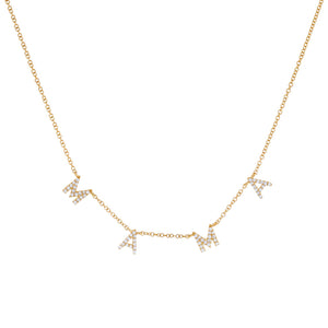 14K Gold Diamond Mama Necklace 14K - Adina's Jewels