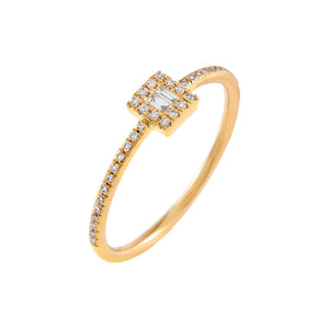 14K Gold / 7 Mini Diamond Illusion Ring 14K - Adina's Jewels