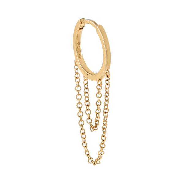 14K Gold / Single Solid Cartilage Chain Huggie Earring 14K - Adina's Jewels