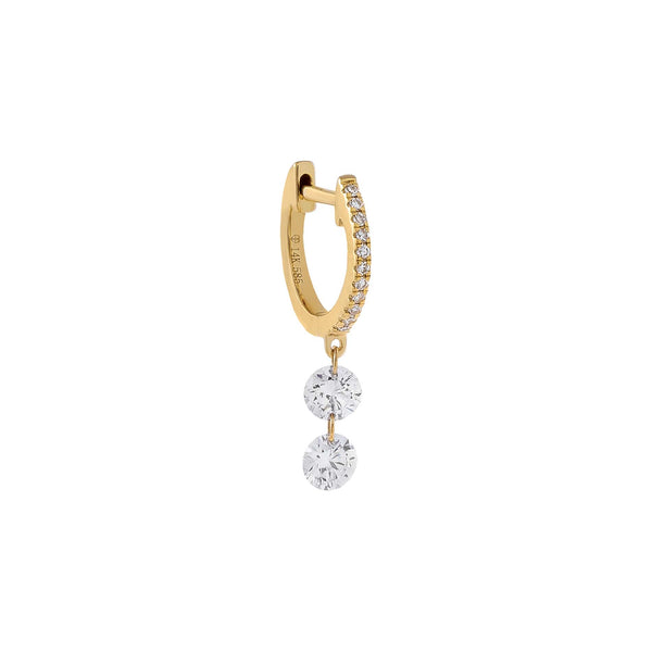 14K Gold / Single Double Floating Diamond Huggie Earring 14K - Adina's Jewels
