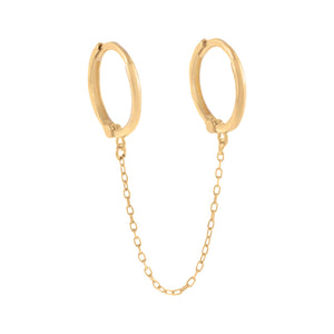 14K Gold / Single Thin Solid Double Chain Huggie Earring 14K - Adina's Jewels