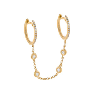 14K Gold / Single Diamond Bezel Chain Huggie Earring 14K - Adina's Jewels