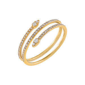 14K Gold / 6.5 Diamond Teardrop Wrap Ring 14K - Adina's Jewels