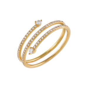 14K Gold / 6.5 Diamond Solitaire Wrap Ring 14K - Adina's Jewels
