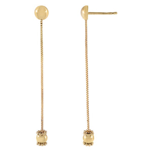 14K Gold Box Chain Charm Drop Stud Earring 14K - Adina's Jewels