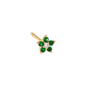 Emerald Green Diamond Colored Mini Flower Stud Earring 14K - Adina's Jewels