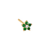 Emerald Green Diamond Emerald Mini Flower Stud Earring 14K - Adina's Jewels