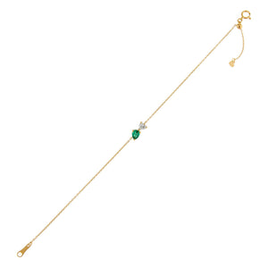 Emerald Green Diamond Heart X Teardrop Bracelet 14K - Adina's Jewels
