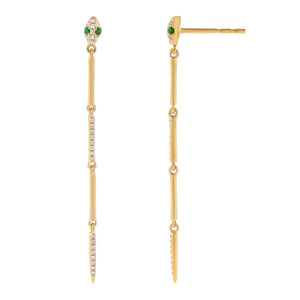 Emerald Green Diamond Snake Bar Drop Stud Earring 14K - Adina's Jewels