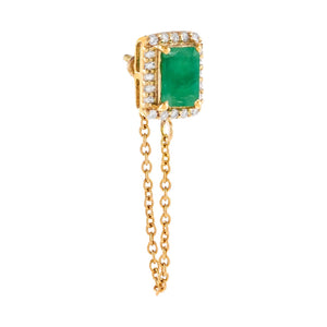 Emerald Green / Single Diamond X Emerald Chain Stud Earring 14K - Adina's Jewels