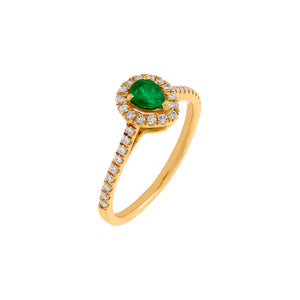 Emerald Green / 6 Diamond Colored Teardrop Ring 14K - Adina's Jewels