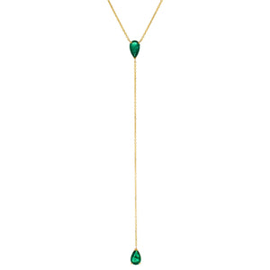 Emerald Green Diamond Emerald Teardrop Lariat 14K - Adina's Jewels