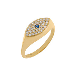 14K Gold / 3 Diamond Evil Eye Ring 14K - Adina's Jewels