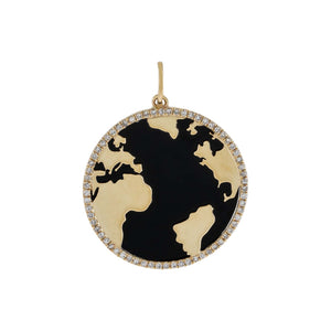 Onyx Diamond Onyx Globe Charm 14K - Adina's Jewels