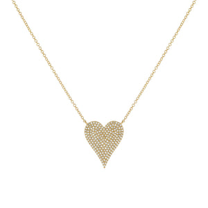 14K Gold Diamond Large Heart Necklace 14K - Adina's Jewels