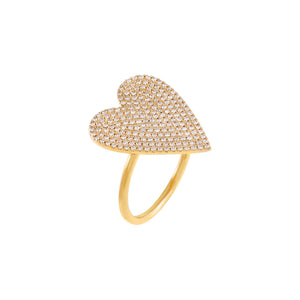 14K Gold / 7 Diamond Pavé XL Heart Ring 14K - Adina's Jewels