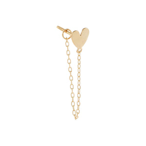 14K Gold / Single Solid Heart Chain Stud Earring 14K - Adina's Jewels