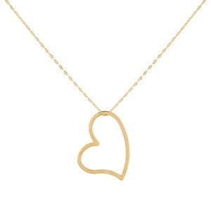 14K Gold Open Heart Baby Gucci Necklace 14K - Adina's Jewels